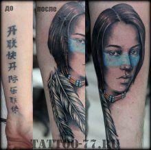 Тату-77 девушка индейское салона Тату-77 в Москве