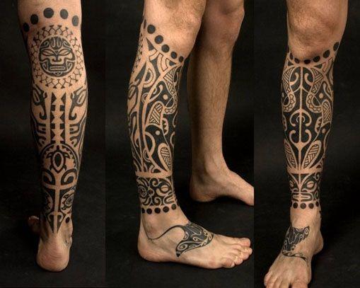 татуировки на мужские на ноге