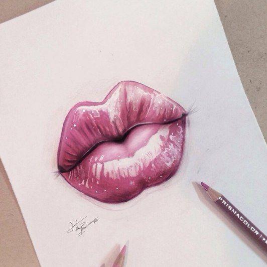 Эскиз тату губы