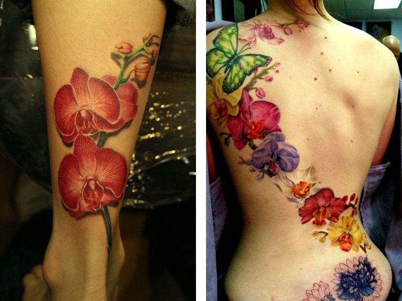 Порно девушка с татуировкой орхидеи
