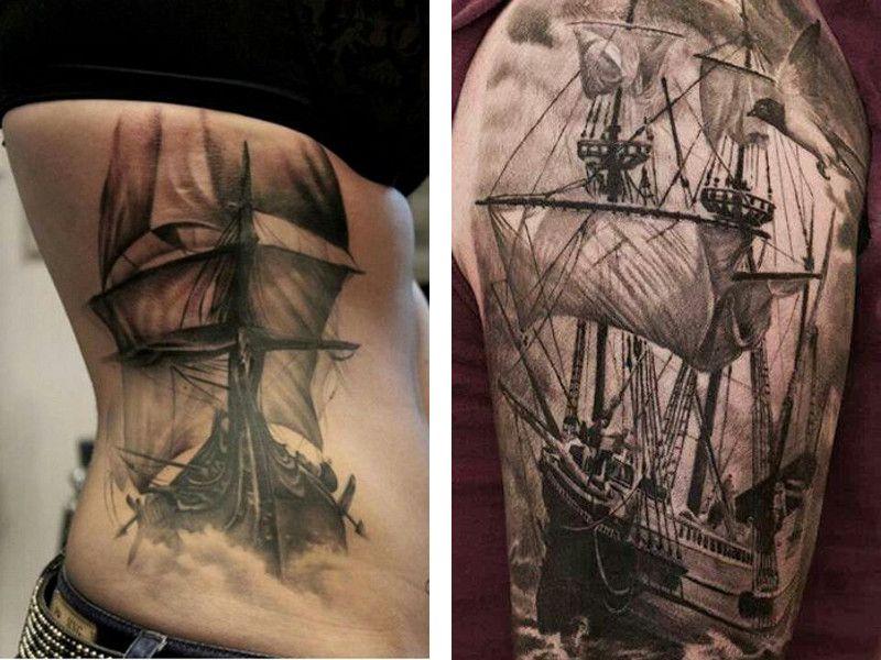 Эскизы татуировки корабля