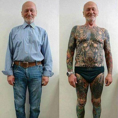 Тату в старости