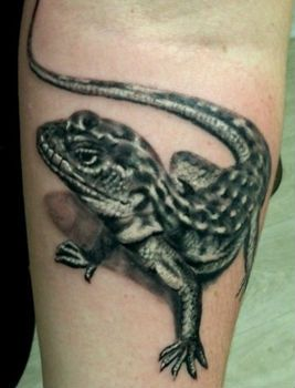 тату саламандра на руке