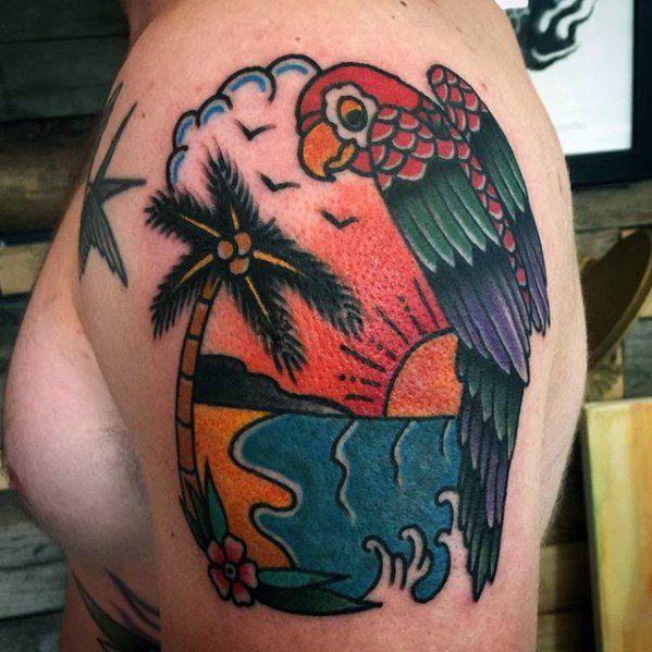 Значение, фото и эскизы татуировки попугай