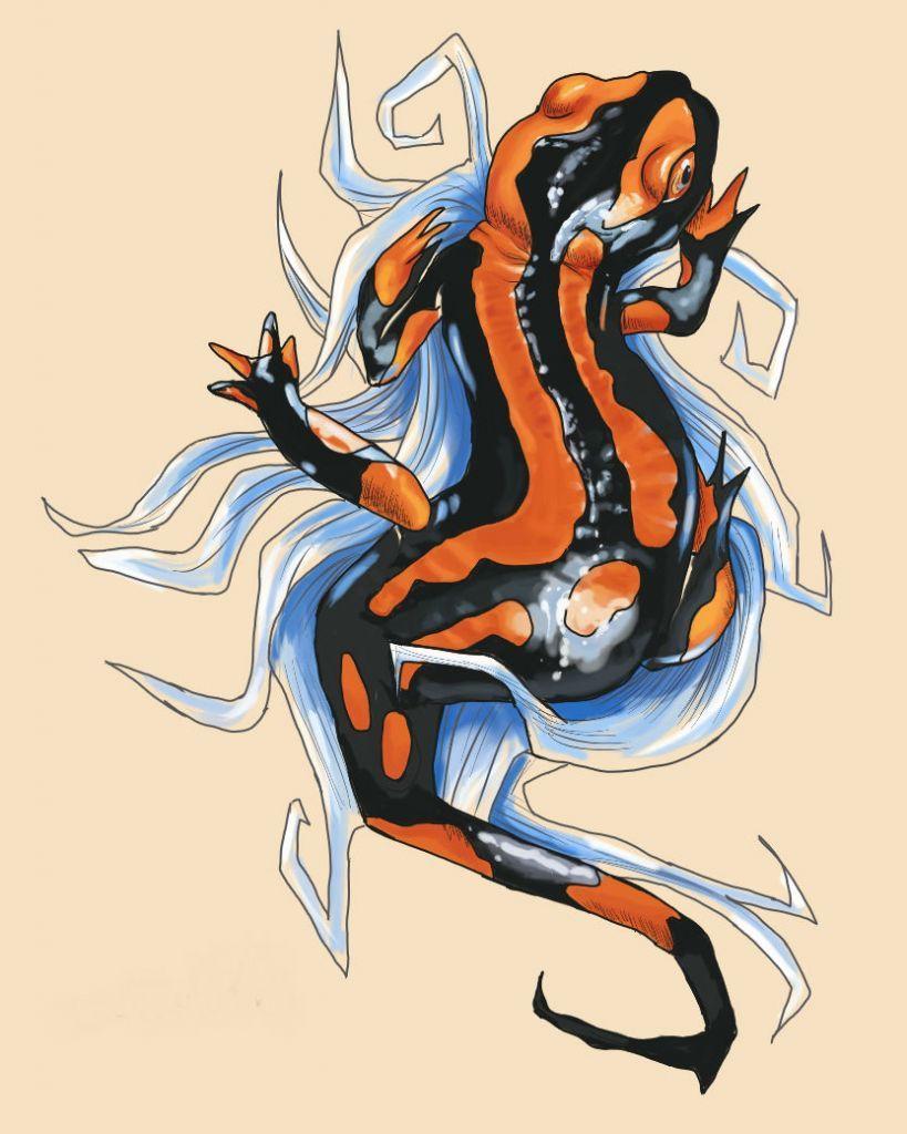эскиз тату саламандра